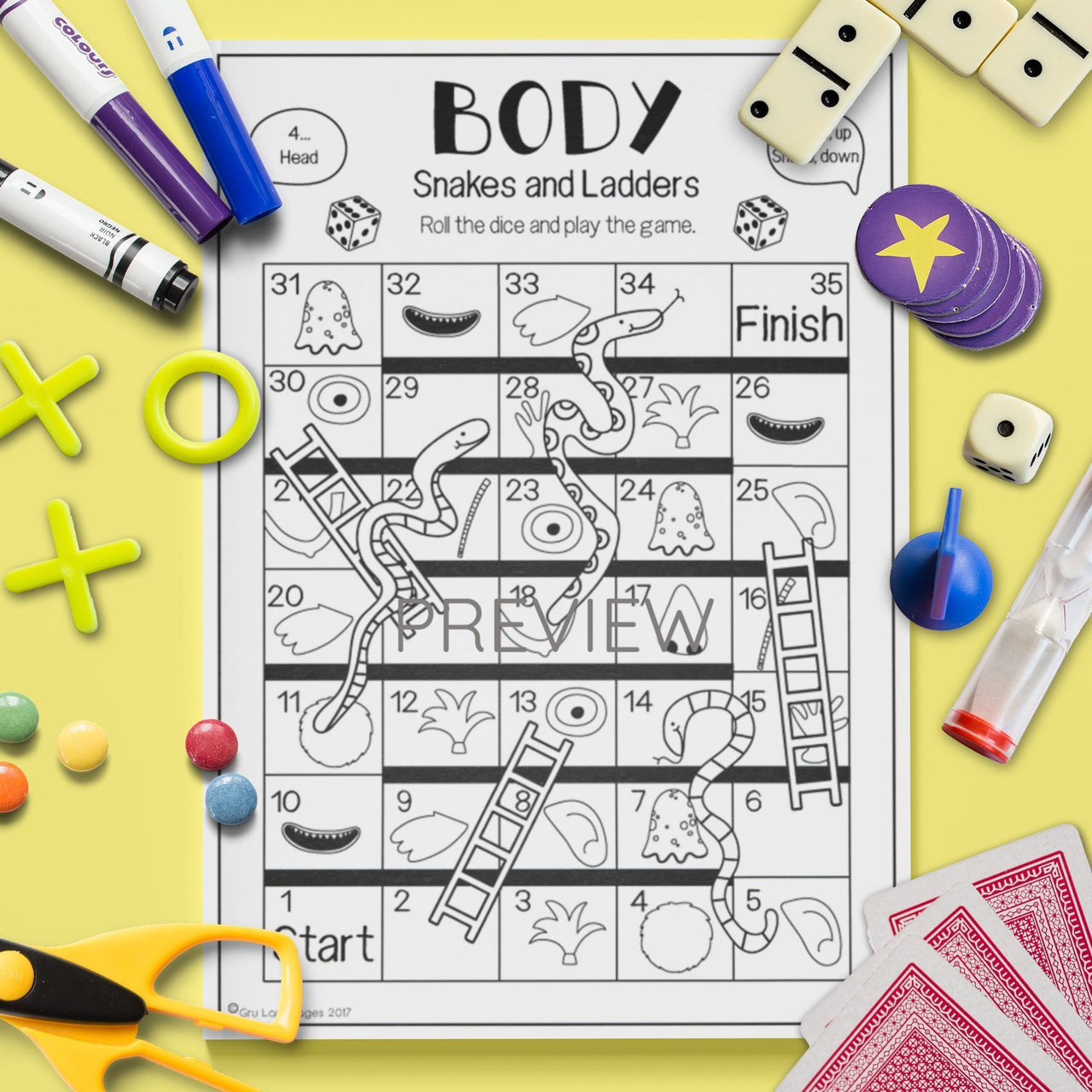 ESL English Kids Face and Body Snakes and Ladders Game Worksheet