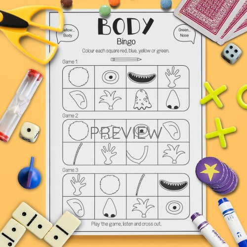 ESL English Kids Face and Body Bingo Game Worksheet