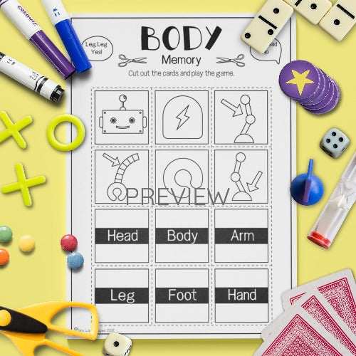 English ESL Kids Body Memory Game Worksheet