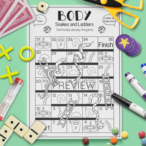 English ESL Kids Body Snakes and Ladders Game Worksheet