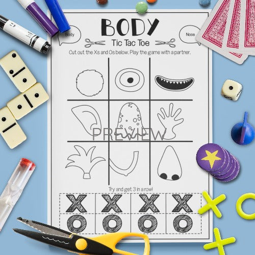 ESL English Kids Face and Body Tic Tac Toe Game Worksheet