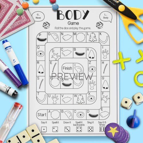 ESL English Kids Face and Body Sentence Board Game Worksheet
