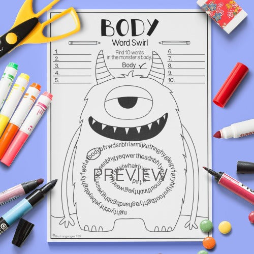 ESL English Kids Face and Body Word Swirl Worksheet