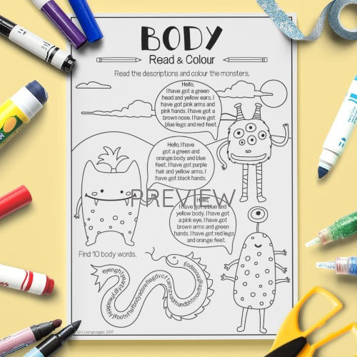 ESL English Kids Face and Body Read and Colour Worksheet
