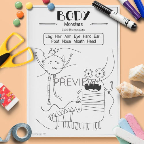 ESL English Kids Face and Body Label The Monsters Worksheet