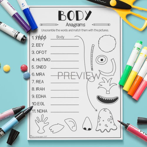 ESL English Kids Face and Body Anagrams Worksheet