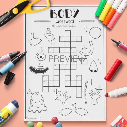 ESL English Kids Face and Body Crossword Worksheet