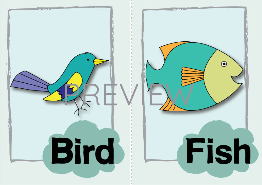 Bird Fish Flashcard