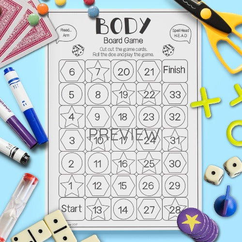 English ESL Kids Body Read Spell Say Game Worksheet