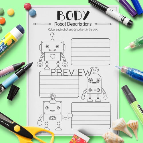 English ESL Kids Body Robot Descriptions Worksheet