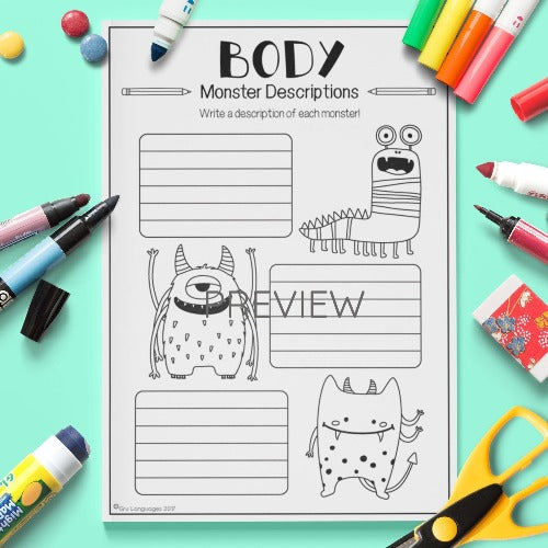 English ESL Kids Body Monster Descriptions Worksheet