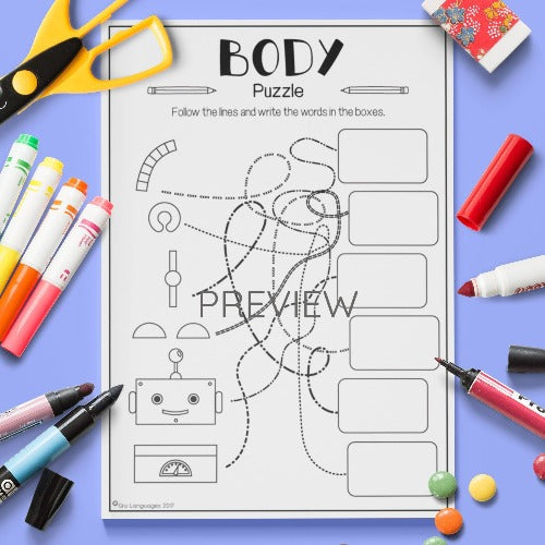 English ESL Kids Body Puzzle Worksheet