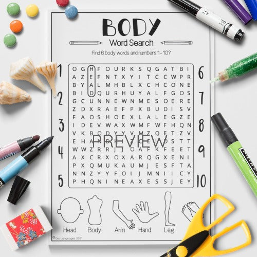 English ESL Kids Body Word Search Worksheet