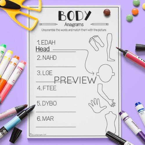 English ESL Kids Body Anagrams Worksheet