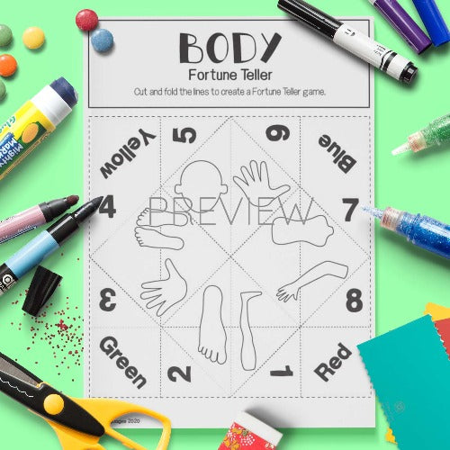 ESL English Body Fortune Teller Craft Activity Worksheet