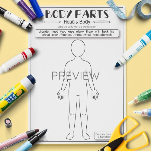English ESL Kids Body Parts Vocabulary Activity Worksheet