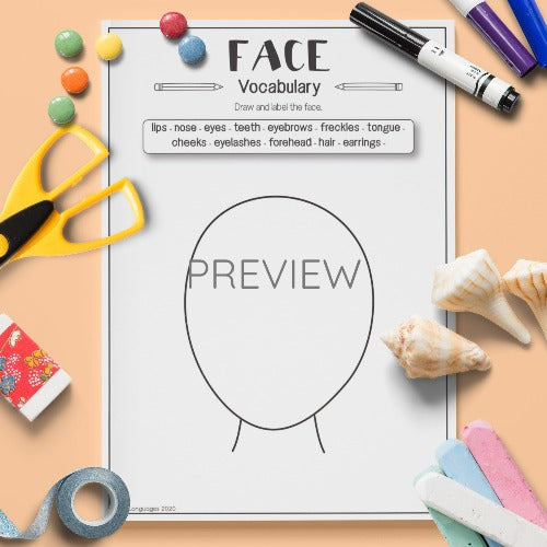 English ESL Kids Face Vocabulary Activity Worksheet