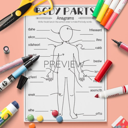 English ESL Kids Body Parts Anagrams Activity Worksheet
