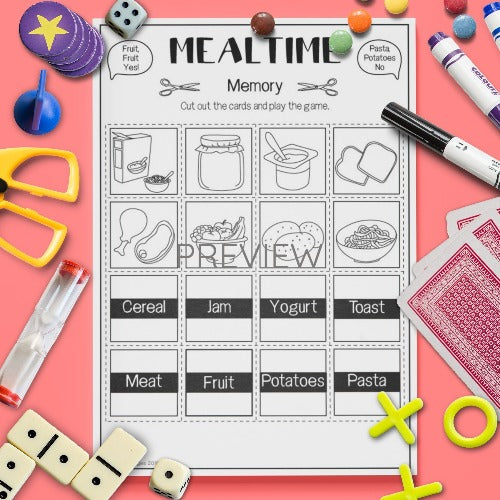 ESL English Kids Mealtime Memory Worksheet