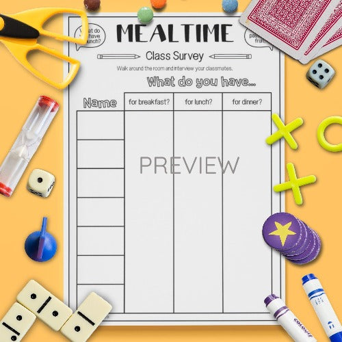 ESL English Kids Mealtime Class Survey Worksheet