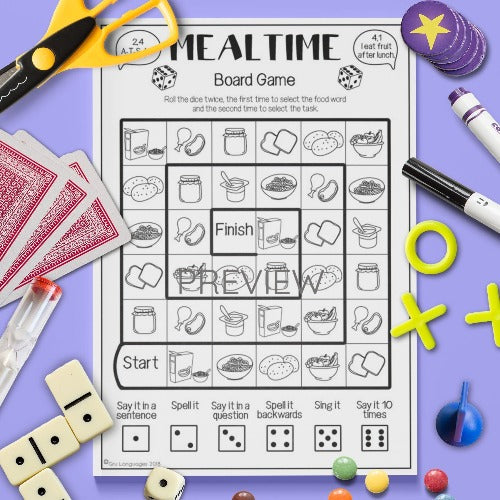 ESL English Kids Mealtime Sentence Board Game Worksheet