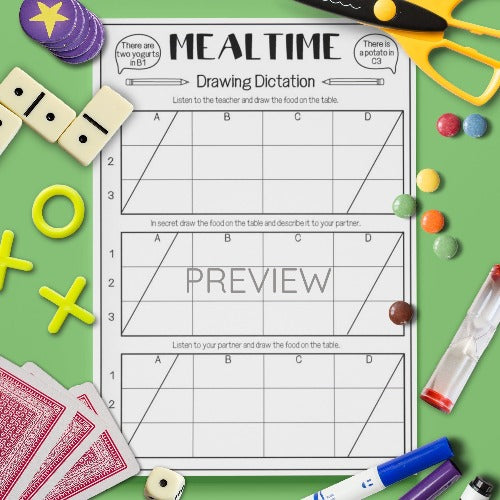 ESL English Kids Mealtime Drawing Dictation Game Worksheet