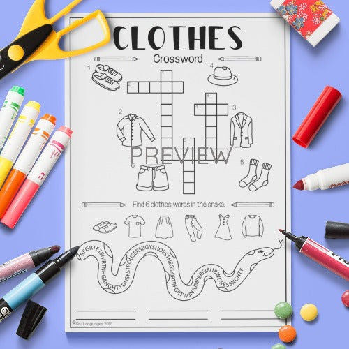 English ESL Kids Clothes Crossword Worksheet