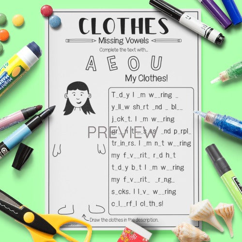 English ESL Kids Clothes Missing Vowels Worksheet