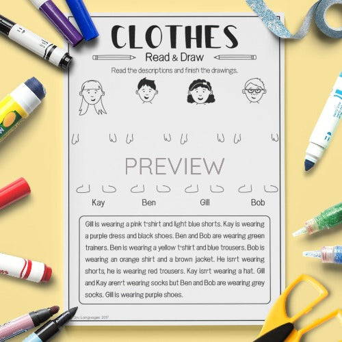 English ESL Kids Clothes Read and Draw Worksheet