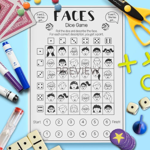 ESL English Kids Face Dice Game Worksheet
