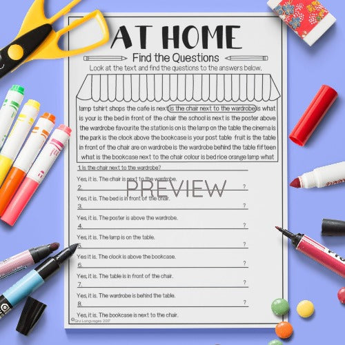 ESL English Kids Home Find The Questions Worksheet