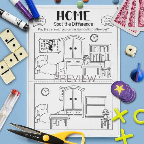 ESL English Kids Home Spot The Difference Game Worksheet