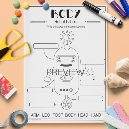 English ESL Kids Body Robot Labels Worksheet