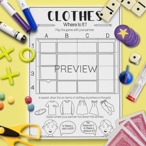English ESL Kids Clothes Where Is It? Game Worksheet
