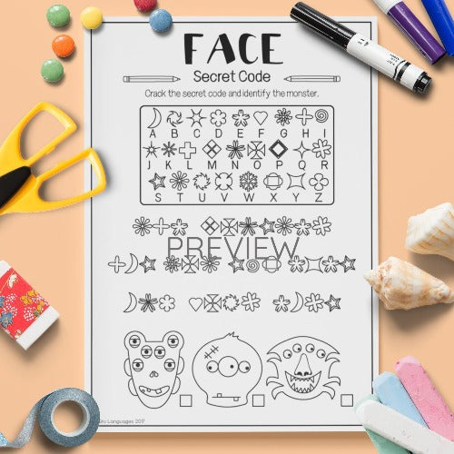 ESL English Kids Monster Faces Secret Code Worksheet