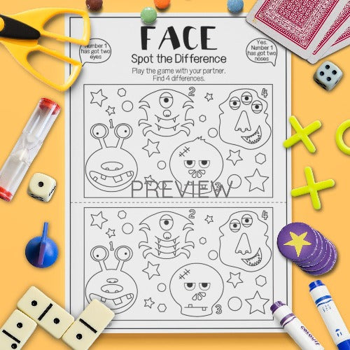 ESL English Kids Face Spot The Difference Game Worksheet