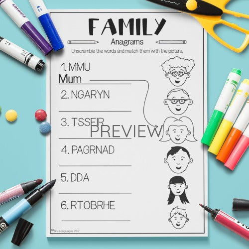 ESL English Kids Family Anagrams Worksheet