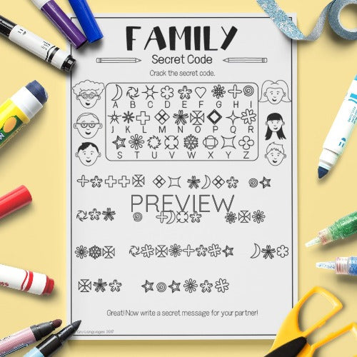 ESL English Kids Family Secret Code Worksheet