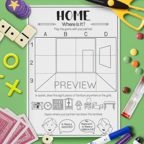 ESL English Kids Home Where Is It? Game Worksheet