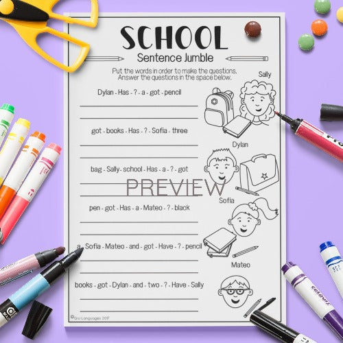 ESL English Kids School Sentence Jumble Worksheet