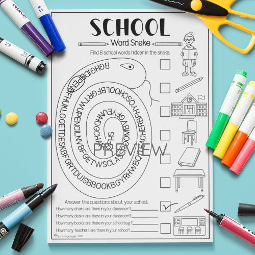 ESL English Kids School Word Snake Worksheet