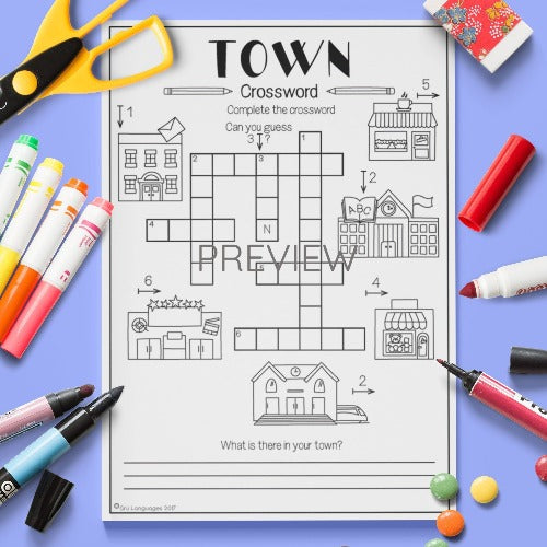 ESL English Kids Town Crossword Worksheet