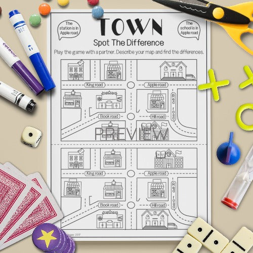 ESL English Kids Town Spot The Difference Game Worksheet
