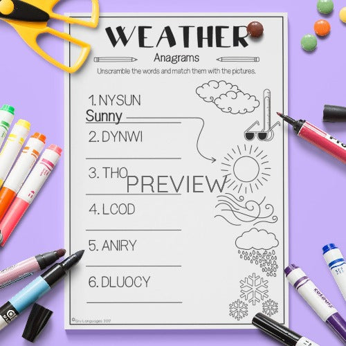 ESL English Kids Weather Anagrams Worksheet