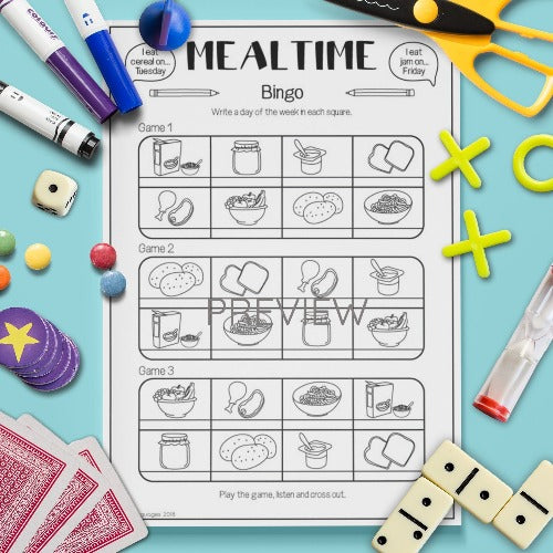 ESL English Kids Mealtime Bingo Game Worksheet