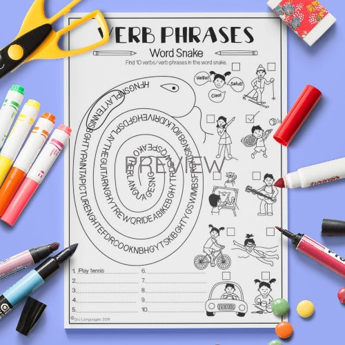 ESL English Kids Verb Word Snake Worksheet