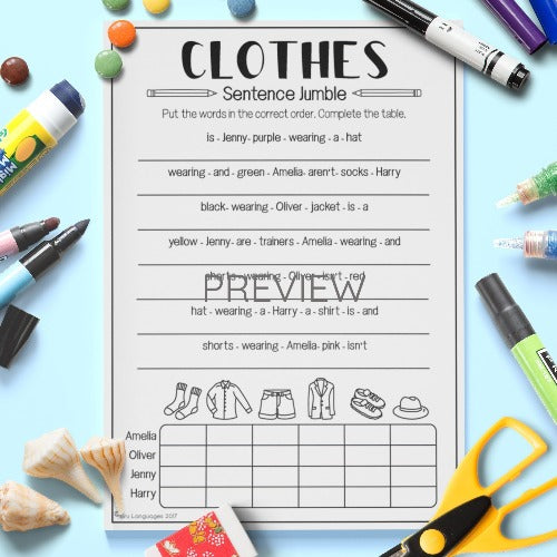 English ESL Kids Clothes Sentence Jumble Worksheet