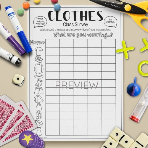 English ESL Kids Clothes Class Survey Worksheet