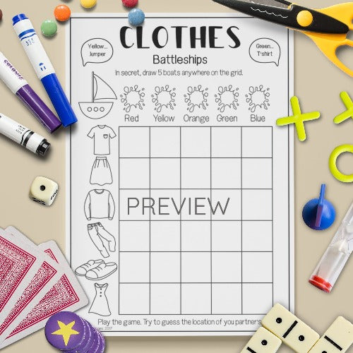 English ESL Kids Clothes Battleships Game Worksheet