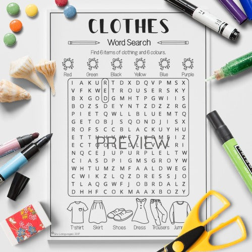 English ESL Kids Clothes Word Search Worksheet